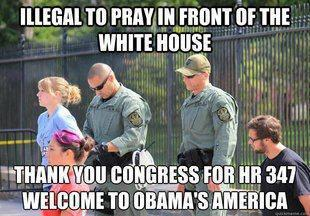 illegal to pray at white house