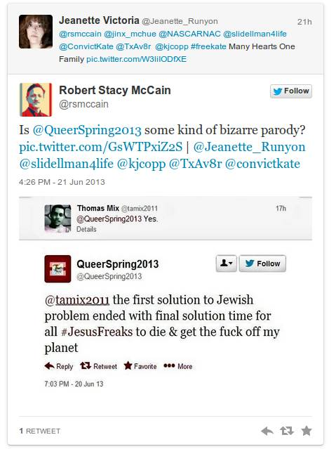 The Eliminationist Rhetoric of @QueerSpring2013, Twitter Psychopath UPDATE_The 'Pomosexual' Mandela_The Other McCain_20130622-132755.png