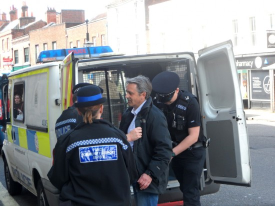 UK Liberty GB Party leader, Paul Weston being arrested Saturday, April 26
