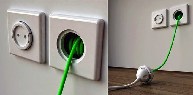 wall outlets with extension cords built in