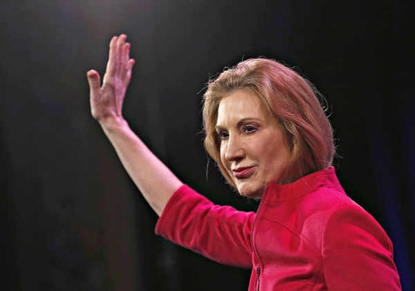 FORMER HEWLETT-PACKARD CO-CEO CARLY FIORINA WAVES AFTER SPEAKING AT THE FREEDOM SUMMIT IN DES MOINES, IOWA