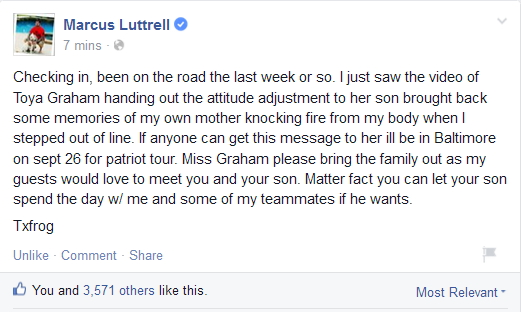 marcus luttrells message to toya graham who put the smack down on her son for rioting