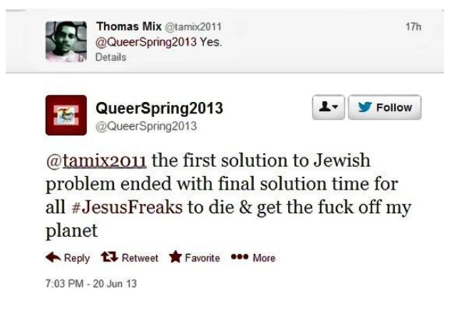 American Power_Homosexual Rights Activist Calls for Final Solution to the Christian Problem_20130622-140529