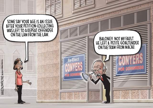 Brilliant John Conyers Cartoon by Mike Thompson. Click the graphic to visit.