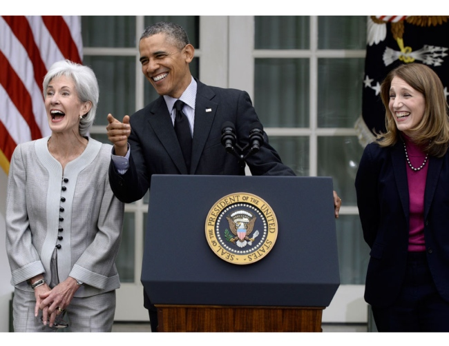Outgoing Secretary of HHS, Kathleen Sebelius, President Barack Obama, and current budget director and nominee to replace Sebelius at HHS, Sylvia Mathews Burwell