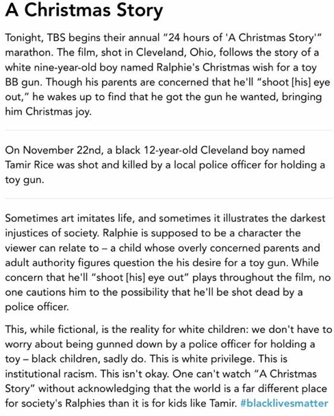 a christmas story article saying the movie is racist