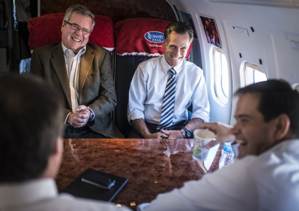 former gov jeb bush on former gov and presidential candidate mitt romneys plane with marco rubio and connie mack