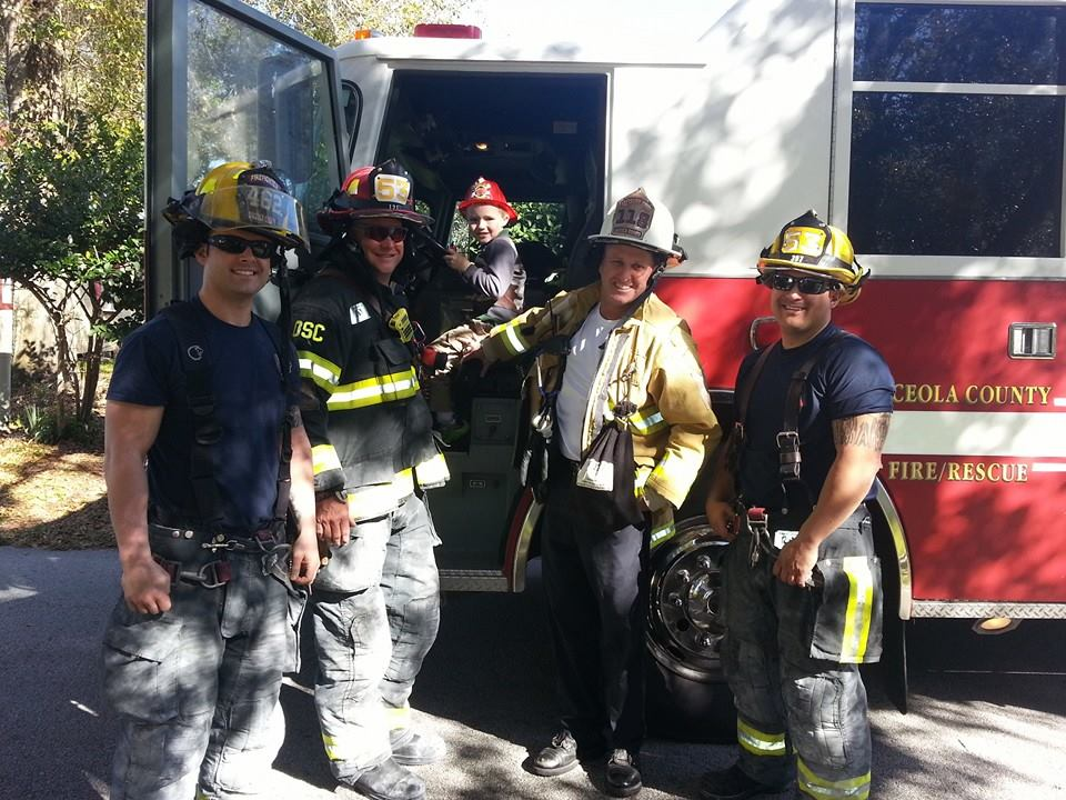 Autistic boy Glenn Buratti enjoyed the cops and firefighters that spontaneously showed up to his birthday party