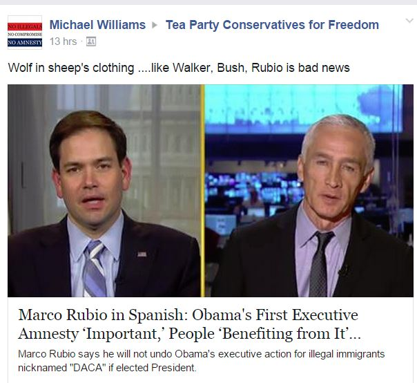 Rubio Facebook Post Wrongly Saying He Flip Flopped On Obamas Exec Anmesty